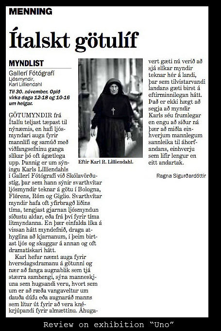 Review from Icelandic paper on exhibition Uno.