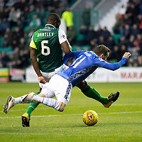 Hibs v St Johnstone…03.11.18…   Easter Road    SPFL<br />Danny Swanson is brought down by Marvin Bartley for a penalty<br />Picture by Graeme Hart. <br />Copyright Perthshire Picture Agency<br />Tel: 01738 623350  Mobile: 07990 594431