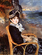 Beside the Sea', 1883: Pierre August Renoir (1841-1919) French painter . Oil on canvas.
