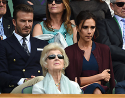Image licensed to i-Images Picture Agency. 06/07/2014. London, United Kingdom. David and Victoria Beckham  in the Royal Box  at the Wimbledon Men's Final.  Picture by i-Images