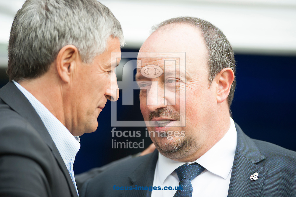 Rafa Benitez coach of Real Madrid and Quique Seben coach of Las Palmas during the La Liga match at the Estadio Santiago Bernabeu, Madrid<br /> Picture by Marcos Calvo Mesa/Focus Images Ltd +34 654142934<br /> 31/10/2015