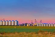 Grain bins at dawn<br /> Pasqua<br /> Saskatchewan<br /> Canada