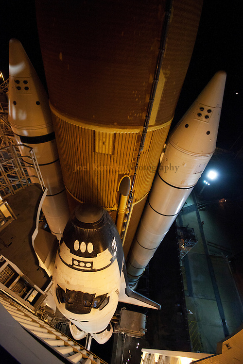 Cape Canaveral, Florida US - Space shuttle Endeavour sits on pad 39A at NASA's Kennedy Space Center in Florida as the Retractible Service Structure is rolled back just after midnight on, April 29, 2011.  (Joel Kowsky/ZUMA Press)