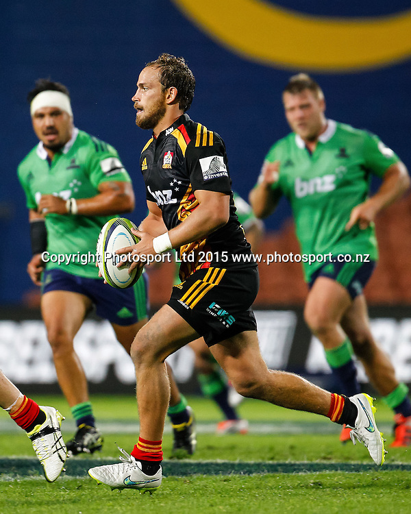 Chief's Andrew Horrell in action during the Super 15 Rugby Match - Chiefs v Highlanders, 6 March 2015 at Waikato Stadium, Hamilton, New Zealand on Friday 6 March 2015.  Photo:  Bruce Lim / www.photosport.co.nz