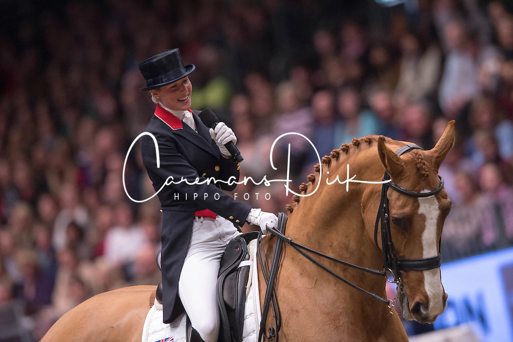 Laura Tomlinson (GBR) retires Mistral Hojris (Alf) at the London International Horse Show Olympia<br /> Reem Acra FEI World Cup Dressage K&uuml;r<br /> London International Horse Show Olympia 2013<br /> &copy; Hippo Foto - Jon Stroud