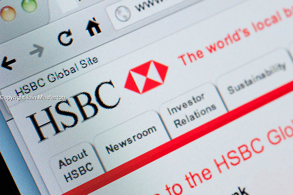 Detail of screenshot from website of HSBC bank online banking homepage