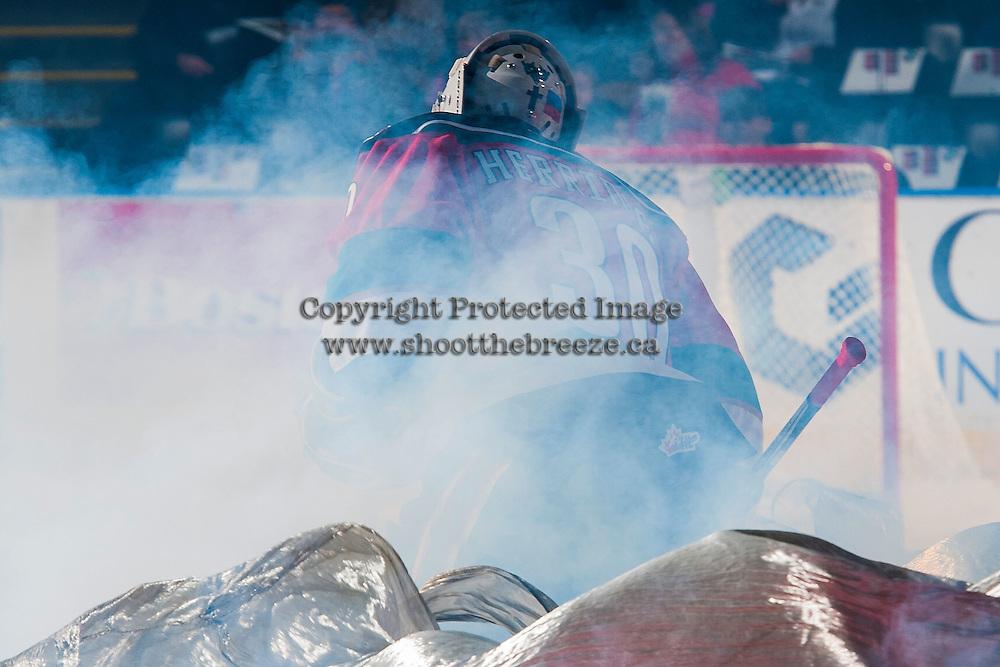 KELOWNA, CANADA - NOVEMBER 26: Michael Herringer #30 of the Kelowna Rockets enters the ice against the Regina Pats on November 26, 2016 at Prospera Place in Kelowna, British Columbia, Canada.  (Photo by Marissa Baecker/Shoot the Breeze)  *** Local Caption ***