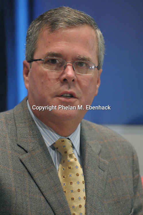 Former Florida Gov. Jeb Bush answers a question from the media during the Excellence in Action national summit on education reform in Lake Buena Vista, Fla., Thursday, June 19, 2008.