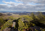 Mountainville, New York - Pitch pine (pinus rigida) cover ithe eastern ridge of Schunnemunk Mountain in a view from the Jessup Trail looking east toward the Hudson River on Nov. 28, 2010. The shadow of the photographer is at the lower left center of the frame..