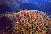 Aerial, Pine Creek Gorge and mountain fall colors, Pennsylvania