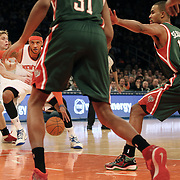 Carmelo Anthony, New York Knicks, in action during the New York Knicks vs Milwaukee Bucks, NBA Basketball game at Madison Square Garden, New York. USA. 15th March 2014. Photo Tim Clayton