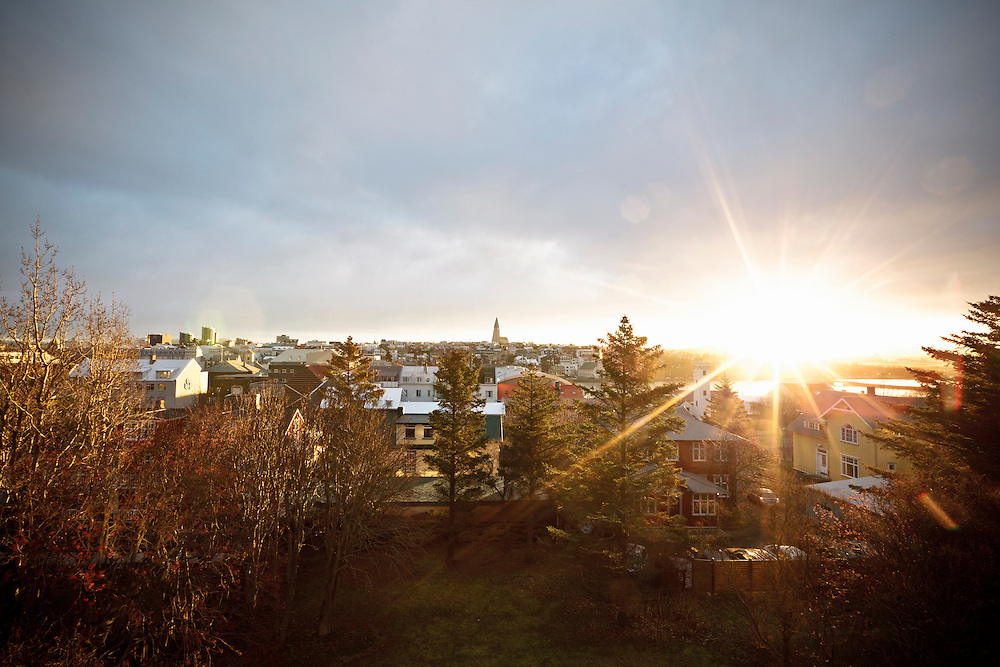 The morning sun breaking through the clouds in Reykjavik