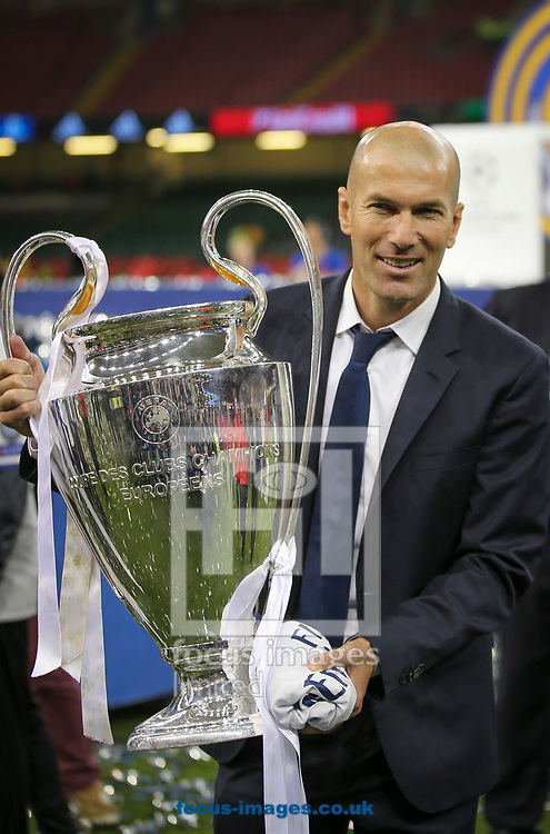 Zinedine Zidane of Real Madrid celebrates winning the UEFA Champions League Final at the Principality Stadium, Cardiff<br /> Picture by Mike Griffiths/Focus Images Ltd +44 7766 223933<br /> 03/06/2017