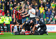 AFC Bournemouth forward Benik Afobe being treated for an injury after being fouled by Norwich City goalkeeper Declan Rudd during the Barclays Premier League match between Bournemouth and Norwich City at the Goldsands Stadium, Bournemouth, England on 16 January 2016. Photo by Graham Hunt.