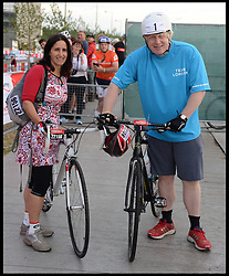 The Mayor of London Boris Johnson and his wife Marina set off from the Olympic Park on their Ride London bike ride, a 100 mile cycle ride, London, United Kingdom<br /> Sunday, 4th August 2013<br /> Picture by Andrew Parsons / i-Images