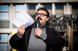 Refugee Ahmad Shamieh from Syria tells stories about migrants and their hard life in home countries at Parliament of Slovenia organised by Amnesty International, on January 20, 2017 in Trg republike, Ljubljana, Slovenia. Photo by Vid Ponikvar / Sportida