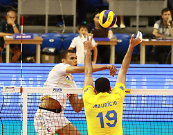 June 16, 2018 - Varna, Bulgaria - from left Luiz Felipe MARQUES FONELES (Brazil), Yacine LOUATI (France), .mens Volleyball Nations League,week 4, Brazil vs Francel, Palace of culture and sport, Varna/Bulgaria, June 16, 2018, the fourth of 5 weekends of the preliminary lap in the new established mens Volleyball Nationas League takes place in Varna/Bulgaria. (Credit Image: © Wolfgang Fehrmann via ZUMA Wire)