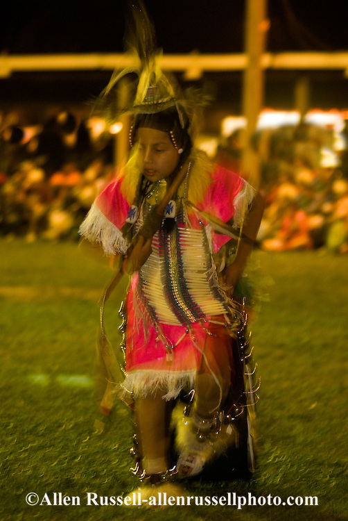 Teenage boy, blurred motion,  Traditional Dancer,  Crow Fair, powwow, Crow Indian Reservation, Montana