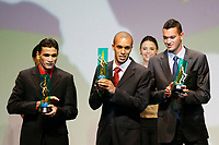 "20091207: RIO DE JANEIRO, BRAZIL - Brazilian Football Awards 2009 (""Craque Brasileirao 2009""), held at the Museum of Modern Art in Rio de Janeiro. In picture: L-R - Ronaldo Angelim (Flamego, 3rd), Miranda (Sao Paulo) - Best central defender - left side, Rever (Gremio, 2nd). PHOTO: CITYFILES"