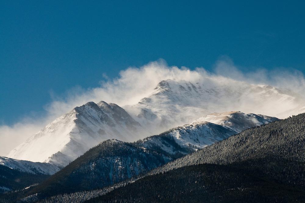 High winds blowing snow of Mt. Yale, Collegiate Peaks, Colorado