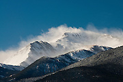 High winds blowing snow of Mt. Yale, Collegiate Peaks, Colorado