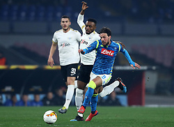 February 21, 2019 - Rome, Italy - SSC Napoli v FC Zurich - UEFA Europa League Round of 32.Simone Verdi of Napoli and Stephen Odey of Zurich at San Paolo Stadium in Naples, Italy on February 21, 2019. (Credit Image: © Matteo Ciambelli/NurPhoto via ZUMA Press)