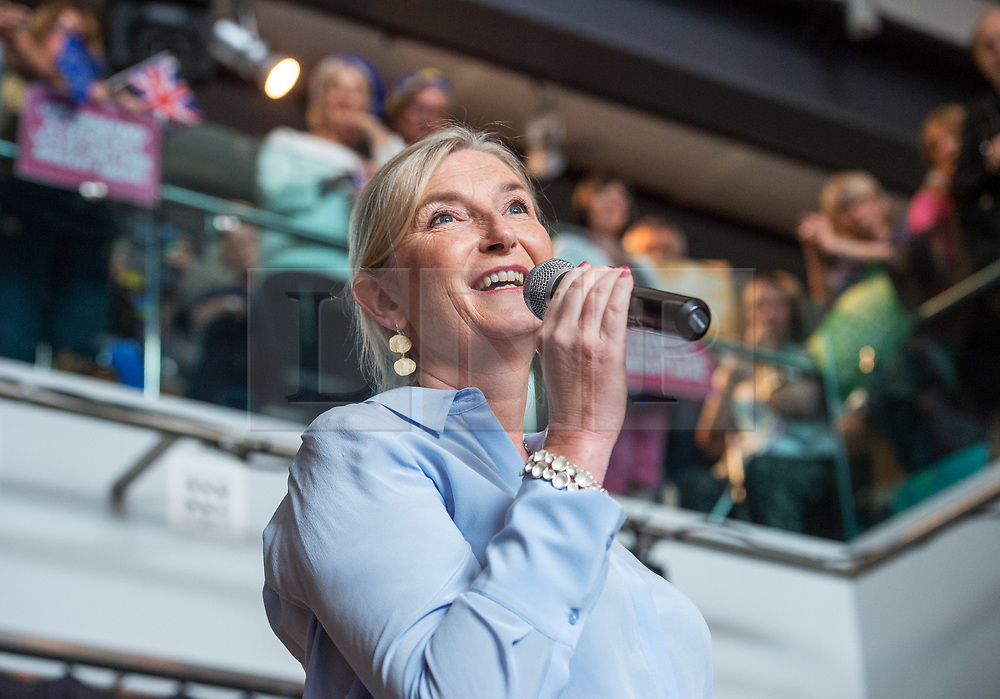 © Licensed to London News Pictures. 11/08/2018. Bristol, UK. SARAH WOLLASTON, Conservative MP for Totnes , speaking at a People's Vote rally at the Colston Hall in Bristol calling for a people's vote on the Brexit deal. Speakers at the rally included Leader of the Liberal Democrats Sir Vince Cable, Totnes Conservative MP Sarah Wollaston and Labour MP Stephen Doughty. The Bristol rally is the first in a series of rallies across the UK. Photo credit: Simon Chapman/LNP