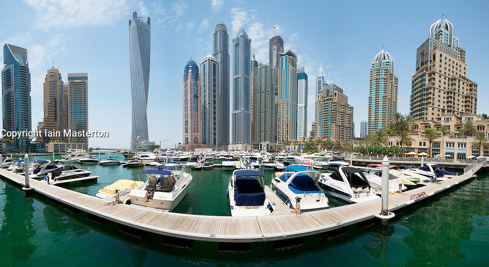 Daytime panorama skyline of Marina district in Dubai United Arab Emirates