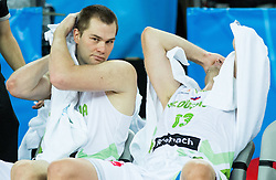 Uros Slokar of Slovenia and Miha Zupan of Slovenia during basketball match between Slovenia vs Netherlands at Day 4 in Group C of FIBA Europe Eurobasket 2015, on September 8, 2015, in Arena Zagreb, Croatia. Photo by Vid Ponikvar / Sportida