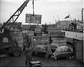1959 - Loading Heinkel cars onto a ship at Sir John Rogerson's Quay, Dublin