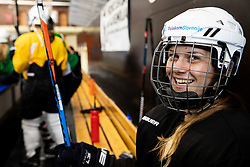 Young girls during practice at Hockey Academy of Anze Kopitar and Tomaz Razingar, on July 9, 2019 in Ice Hockey arena Bled, Slovenia. Photo by Vid Ponikvar / Sportida