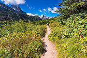 Hikers on the Iceberg Lake trail, Many Glacier, Glacier National Park, Montana USA