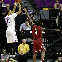 Feb 1, 2017; Baton Rouge, LA, USA; LSU Tigers guard Brandon Sampson (0) shoots over South Carolina Gamecocks guard Rakym Felder (4) during the first half of a game at the Pete Maravich Assembly Center. Mandatory Credit: Derick E. Hingle-USA TODAY Sports