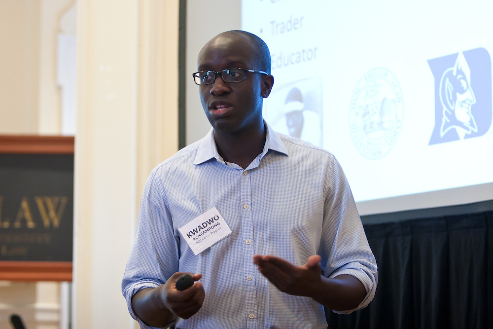 Sponsors for  Educational  Opportunity presents the College Scholars .Career Seminar 2011. Kwadwo Acheampong, Sales & Trading Program Manager, SEO speaks to students. It was held on Saturday,  July 23, 2011 at the .NYU School of Law, .Vanderbilt Hall in New York. The seminar introduces SEO  Scholars to a variety of career opportunities. Experts in their various professions speak and share their insights.