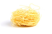 Vermicelli pasta on white background