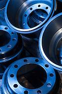 Still life of steel truck wheels