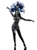 one  woman samba dancer dancing silhouette on white background