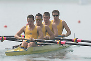 Beijing, CHINA, AUS JM4+ Bow, Owen GIRARDI, Matthew DIGNAN, Aleksander BERZINS, Kurt SPENSER and Cox Edward CLARKE, during the  2007. FISA Junior World Rowing Championships Shunyi Water Sports Complex. Wed. 08.08.2007  [Photo, Peter Spurrier/Intersport-images]..... , Rowing Course, Shun Yi Water Complex, Beijing, CHINA,