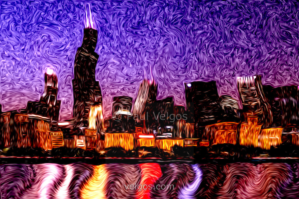 Digital art of Chicago at night with the Chicago skyline, Willis Tower (Sears Tower) and other popular downtown Chicago Loop buildings. Image is a digital painting based on a photograph.
