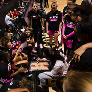 10 February 2018: The San Diego State Aztecs women's basketball team hosts Nevada on Play4Kay day at Viejas Arena. San Diego State Aztecs head coach Stacie Terry<br /> goes over the first play prior to tip off against the Nevada Wolf Pack.<br /> More game action at www.sdsuaztecphotos.com