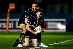 Gareth Simpson of Worcester Cavaliers celebrates scoring a try with Nick David of Worcester Cavaliers - Mandatory by-line: Robbie Stephenson/JMP - 25/11/2019 - RUGBY - Sixways Stadium - Worcester, England - Worcester Cavaliers v Sale Jets - Premiership Rugby Shield