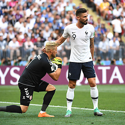 Kasper Schmeichel of Denmark and Olivier Giroud of France during the FIFA World Cup Group C match between Denmark and France at Luzhniki Stadium on June 26, 2018 in Moscow, Russia. (Photo by Anthony Dibon/Icon Sport)