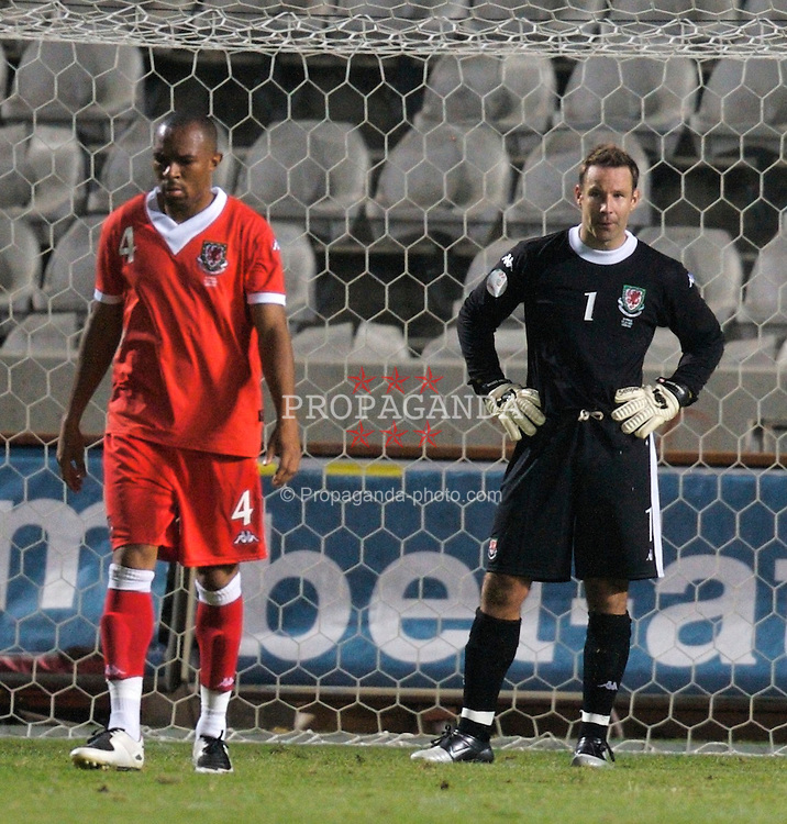 Nicosia, Cyprus - Saturday, October 13, 2007: Wales' goalkeeper Danny Coyne looks dejected after Cyprus score the second goal during the Group D UEFA Euro 2008 Qualifying match at the New GSP Stadium in Nicosia. (Photo by David Rawcliffe/Propaganda)