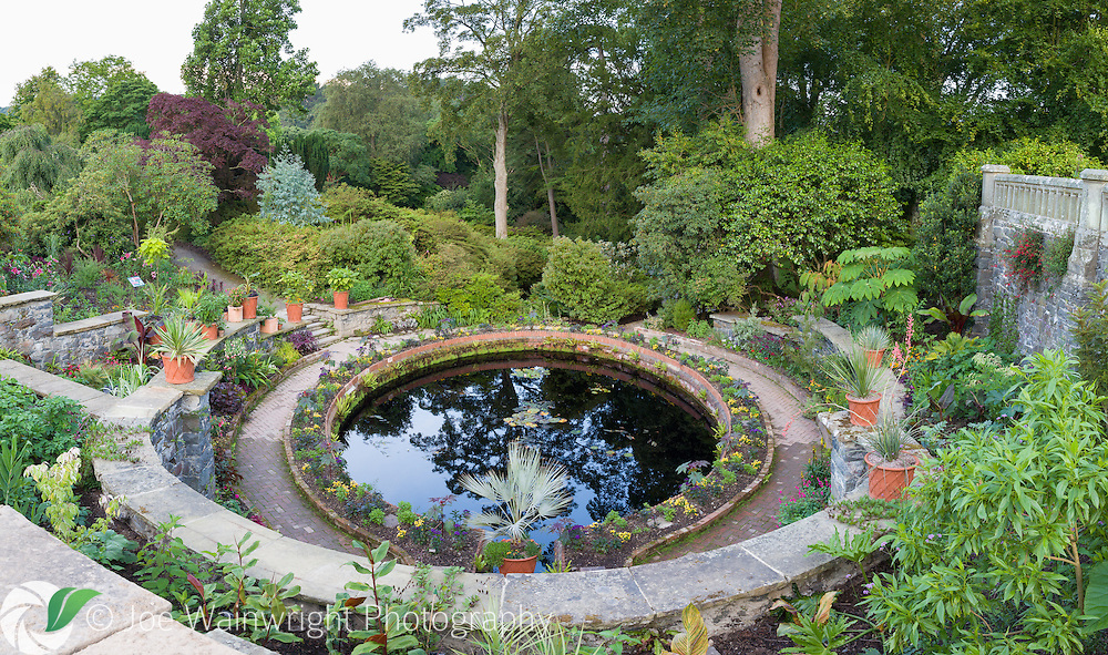 The Bath area of Bodnant Garden, North Wales - photographed in July. It was restored and replanted in 2016