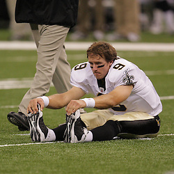 2008 August 16: New Orleans Saints quarterback Drew Brees (9) stretches prior to a preseason match up against the Houston Texans at the Louisiana Superdome in New Orleans, LA. .