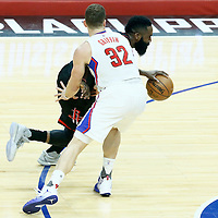 01 March 2017: Houston Rockets guard James Harden (13) drives past LA Clippers forward Blake Griffin (32) during the Houston Rockets 122-103 victory over the LA Clippers, at the Staples Center, Los Angeles, California, USA.
