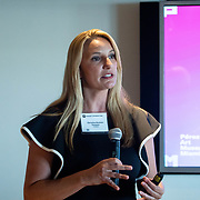 APRIL 25, 2018--MIAMI, FLORIDA<br /> Christina Boomer Vazquez, PAMM, Deputy Director of Marketing and Public Engagement, takes part in her group's presentation as part of Arts and Technology exploration of new ways to connect people to art, at the Perez Art Museum Miami.<br /> (PHOTO BY ANGELVALENTIN/FREELANCE)