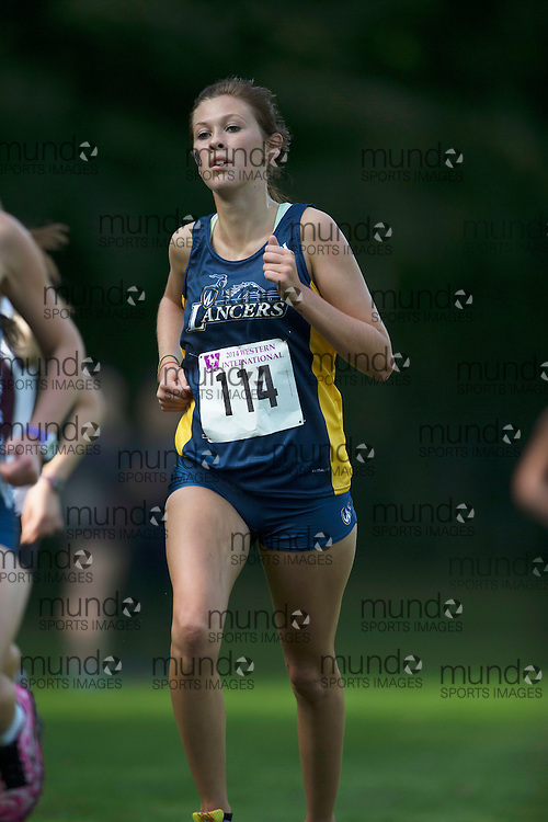 Sydney Hawkins of the Windsor Lancers runs at the 2014 Western International Cross country meet in London Ontario, Saturday,  September 20, 2014.<br /> Mundo Sport Images/ Geoff Robins