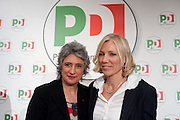 2013/01/24 Roma, il PD presenta i candidati alle politiche provenienti dal mondo dello sport. Nella foto Anna Paola Concia e Josefa Idem..Democratic Party presents its candidates coming from sports world. In the picture Anna Paola Concia and Josefa Idem.