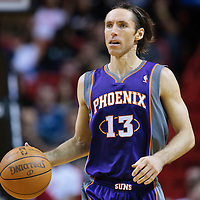 17 November 2010: Phoenix Suns' point guard #13 Steve Nash brings the ball upcourt during the Miami Heat 123-96 victory over the Phoenix Suns at the AmericanAirlines Arena, Miami, Florida, USA.